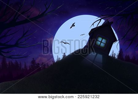 Night Wonderful Landscape With Solitary House On The Hill, Full Moon, Forest And Birds. Fantastic Vi