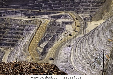Open Pit Mine Run By Rio Tinto At Bingham Canyon In Utah