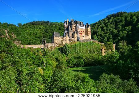Eltz Castle In Rhineland-palatinate, Germany. It Was Built In The 12th Century And Has Never Been De