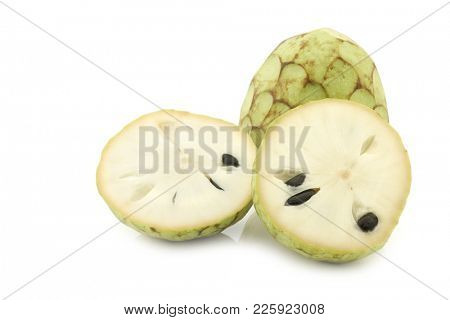 fresh cherimoya fruits (Annona cherimola) on a white background