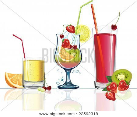 Juice and fruits. Raster version of vector illustration.