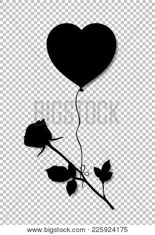Black Silhouette Of Rose Flower Flying On Heart Shaped Helium Ba