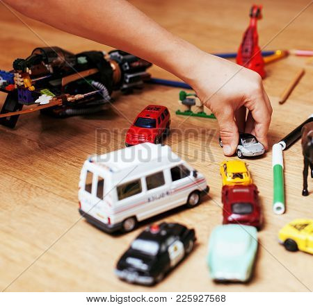 Children Playing Toys On Floor At Home, Little Hand In Mess, Free Education, Lifestyle People Concep