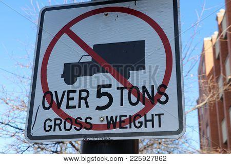 No Trucks Over 5 Tons Gross Weight Sign