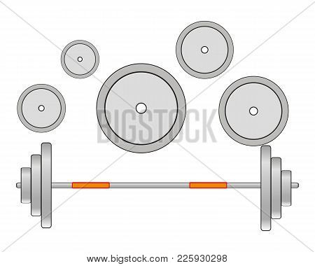 Atheletic Projectile Barbell On White Background Is Insulated