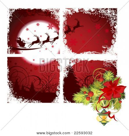 Christmas window. All elements and textures are individual objects. Vector illustration scale to any size.
