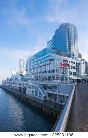 VANCOUVER - JAN 13, 2018: Panoramic view of Canada Place and cruise ship port in Vancouver, British Columbia, Canada, during morning hours.