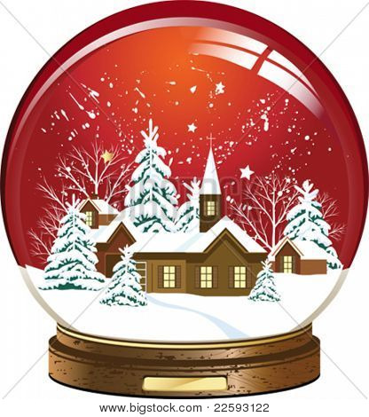 Snow globe with a town. All elements and textures are individual objects. Vector illustration scale to any size.