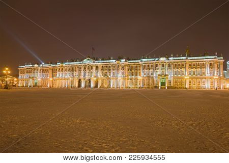 Saint Petersburg, Russia - January 18, 2018: Winter Palace In The January Evening