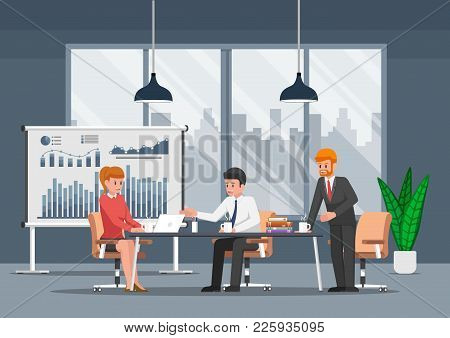 Businessman Working And In The Open Space Office. Teamwork And Coworking Center Concept.