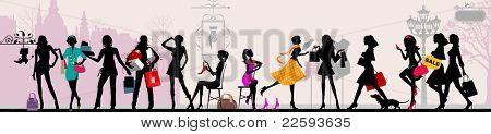 Shopping girls, Paris. Raster version of vector illustration