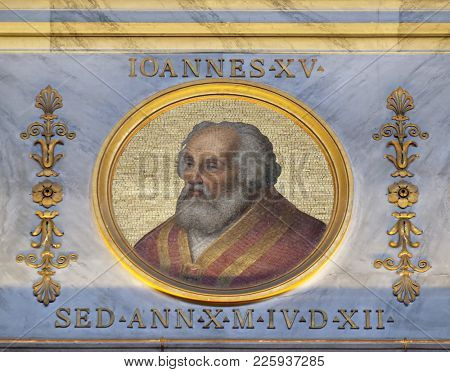 ROME, ITALY - SEPTEMBER 05:  Image of Pope John XV was Pope from August 985 to his death in 996, basilica of Saint Paul Outside the Walls, Rome, Italy on September 05, 2016.