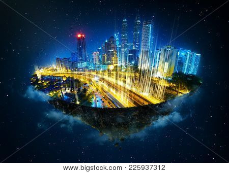 Fantasy island floating in the air with modern city skyline and network light came out from the grou