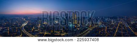 Panorama Cityscape View In The Middle Of Kuala Lumpur City Center , Early Morning With Little Mist ,