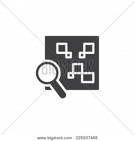 Qr Code With Magnifying Glass Icon Vector, Filled Flat Sign, Solid Pictogram Isolated On White. Sear