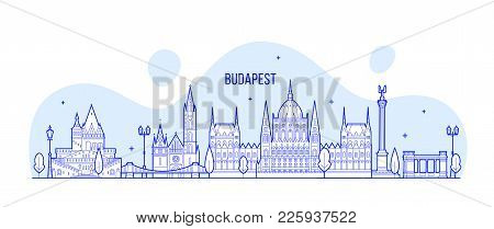 Budapest Skyline, Hungary. This Vector Illustration Represents The City With Its Most Notable Buildi