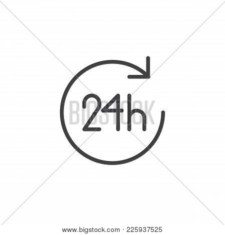 24 Hours Icon Vector, Filled Flat Sign, Solid Pictogram Isolated On White. Open Twenty Four Hours A