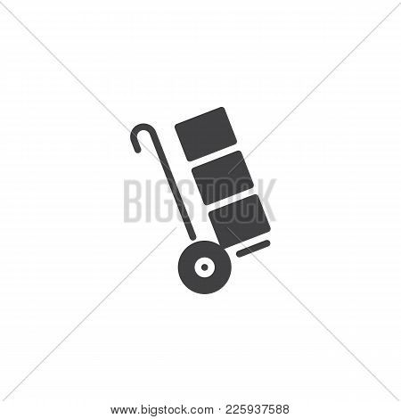 Trolley Handcart With Cardboard Boxes Icon Vector, Filled Flat Sign, Solid Pictogram Isolated On Whi