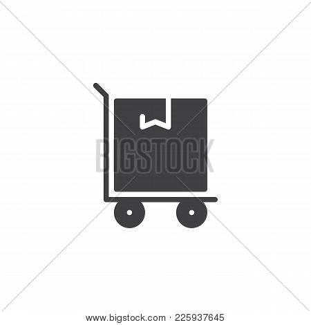 Hand Truck With Cardboard Box Icon Vector, Filled Flat Sign, Solid Pictogram Isolated On White. Parc