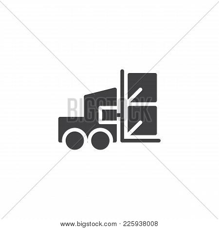 Forklift Truck With Lifted Cardboard Boxes Icon Vector, Filled Flat Sign, Solid Pictogram Isolated O