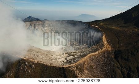 Crater With Acidic Crater Lake, Kawah Ijen The Famous Tourist Attraction, Where Sulfur Is Mined. Aer