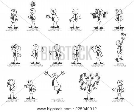 Vector Illustration Of Eps10, Poses And Emotions Of A Man With Sticks, Way To Success