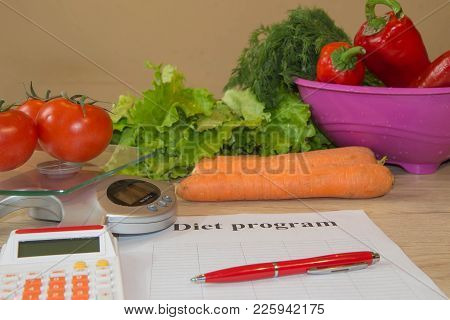 Concept Of Diet. Low-calorie Vegetables Diet. Diet For Weight Loss. Measuring Tape And Vegetables On