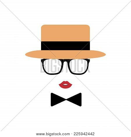 Lady Avatar In Hat, Lips, Glasses And A Bow Tie. Vintage Style. Vector Illustration.