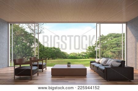 Modern Contemporary Living Room 3d Rendering Image.the Rooms Have Wooden Floors,concrete Tile Wall A