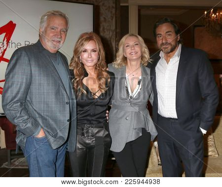 LOS ANGELES - FEB 2:  John McCook, Tracey Bregman, Katherine Kelly Lang, Thorsten Kaye at the Tracey Bregman 35th Anniversary on YnR at CBS TV City on February 2, 2018 in Los Angeles, CA