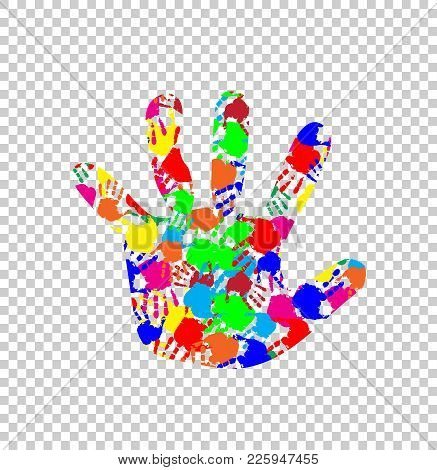 Rainbow Multicolored Silhouette Of Baby Hand With Colorful Handprint Pattern Inside Isolated On Tran