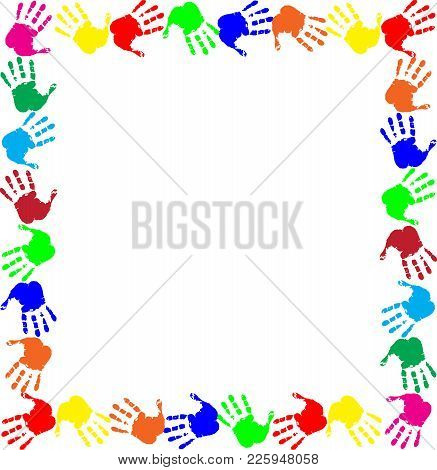 Colorful Rainbow Frame Work With Empty Copy Space For Text Or Image And Multicolored Handprints Bord