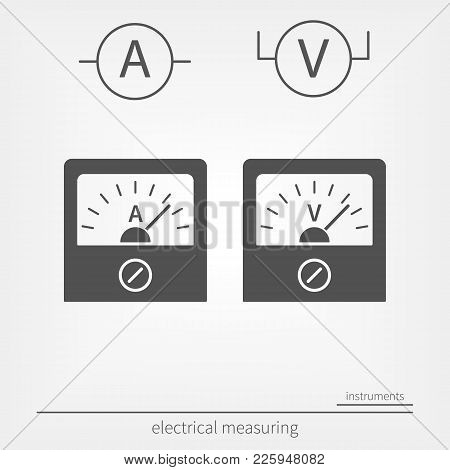 Ammeter And Voltmeter Icons. Physical Measuring Device
