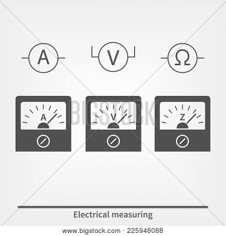 Icons Of Physical Measuring Instruments. Vector Illustration