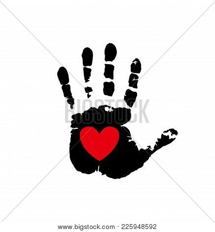 Black Silhouette Of Humans Handprint With Heart Symbol In Open Palm Isolated On White Background. Ve