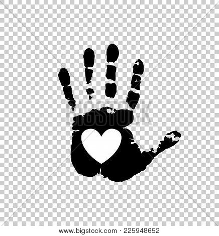 Black Silhouette Of Human Hand Print With Heart Sign In Open Palm Isolated On Transparent Background