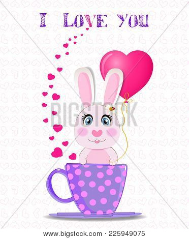 Greeting Card With Cute Cartoon Rabbit Holding Pink Heart Balloon, Sitting In Violet Cup With Polka