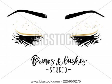 Brows And Lashes Studio. Vector Illustration Of Lashes And Brows. For Beauty Salon, Lash Extensions
