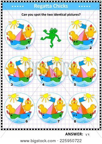 Spring Or Summer Themed Visual Puzzle With Sailor Chicks And Colorful Boats: Can You Spot The Two Id