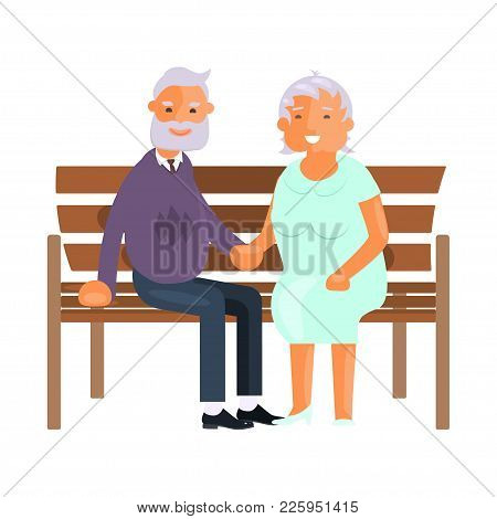 Healthy Active Lifestyle Retiree For Grandparents. Elderly People Characters Have A Rest On A Park B