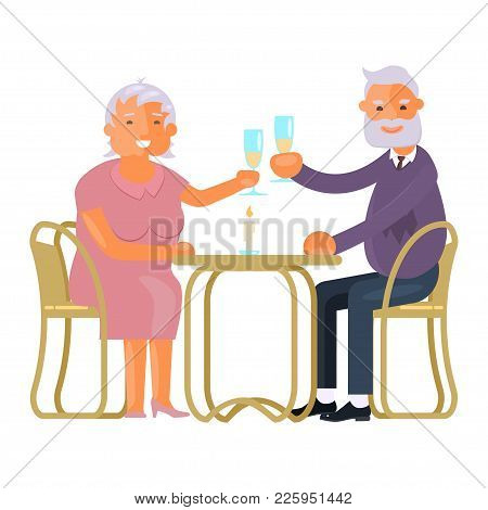 Healthy Active Lifestyle Retiree For Grandparents. Elderly People Characters Celebrate Birthday Or O