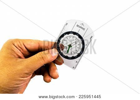 Circle Compass With Transparent Plastic Plate In Man Hand