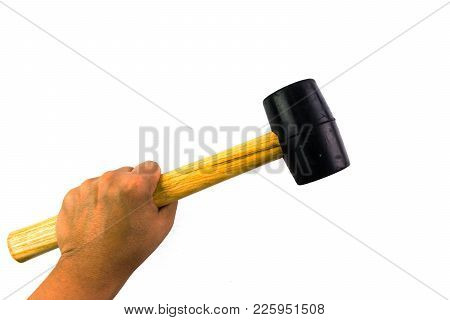 Wooden Handle Hammer With Black Rubber Head