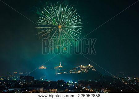 A Beautiful Fireworks Display For Celebrations Phra Nakhon Khiri.phetchaburi