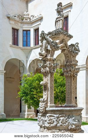 Lecce,  Italy - April 17, 2010: The Sculptures Of The Well In The Seminary Cloister