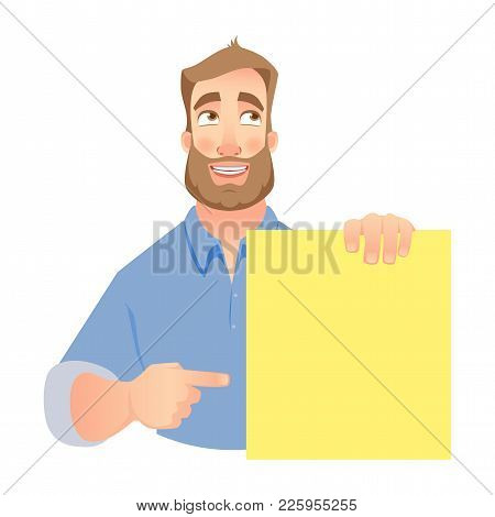 Man Holding Blank Banner. Shy Businessman Pointing To Banner. Vector Illustration Set