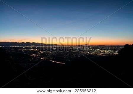 Before dawn view of the San Fernando Valley in Los Angeles California.  Shot from Rocky Peak Park near Simi Valley.