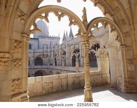 Portugal Arch In The Convent Of The Jeronimos Monastery  In Belem