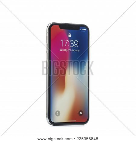 Moscow, Russia - January 06,2018: Iphone X On Wooden Table. The Iphone X Is Smart Phone With Multi T