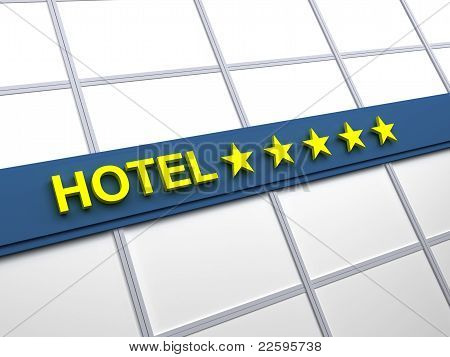 poster of Detail of a five stars hotel with reflecting sky and palm trees